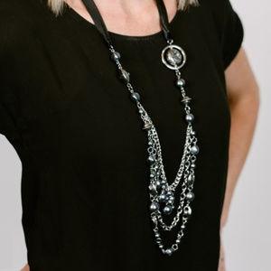 Paparazzi Black Ribbon Necklace Dark Gray Beads